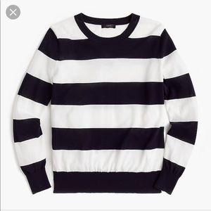 J Crew Summer Weight Sweater Navy Stripe  E9573